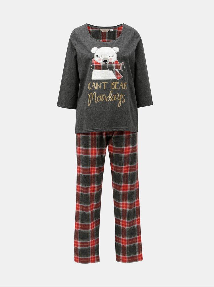 Červeno–sivé dvojdielne pyžamo s nášivkou ľadového medveďa Dorothy Perkins Gry Bear