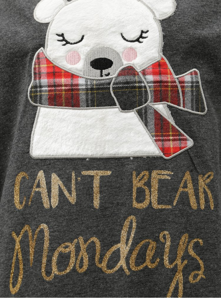 Červeno-šedé dvoudílné pyžamo s nášivkou ledního medvěda Dorothy Perkins Gry Bear