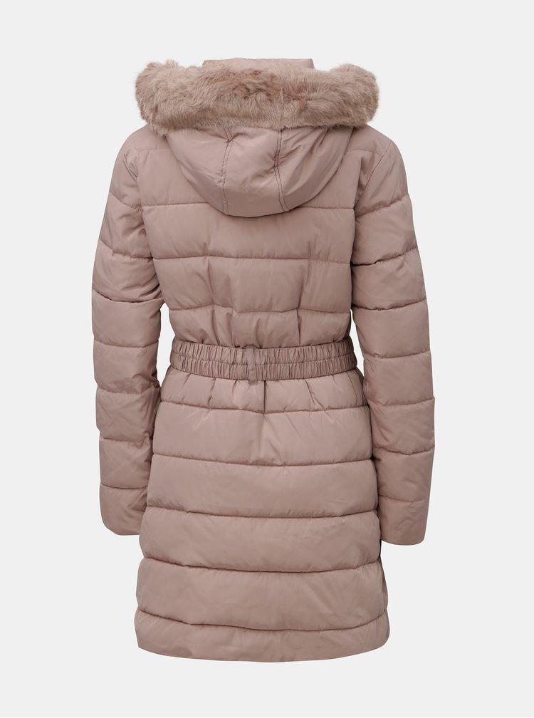 Starorůžový prošívaný zimní kabát s odnímatelným umělým kožíškem Dorothy Perkins Tall