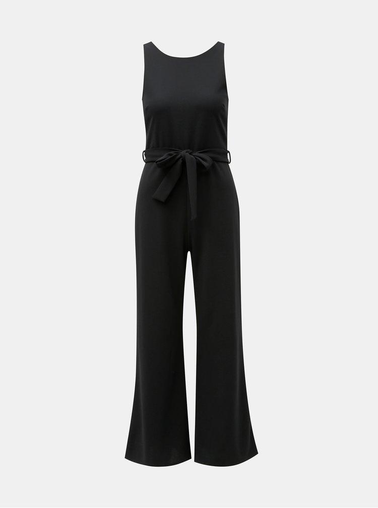 Černý dlouhý overal s páskem na zavazování Miss Selfridge Petites