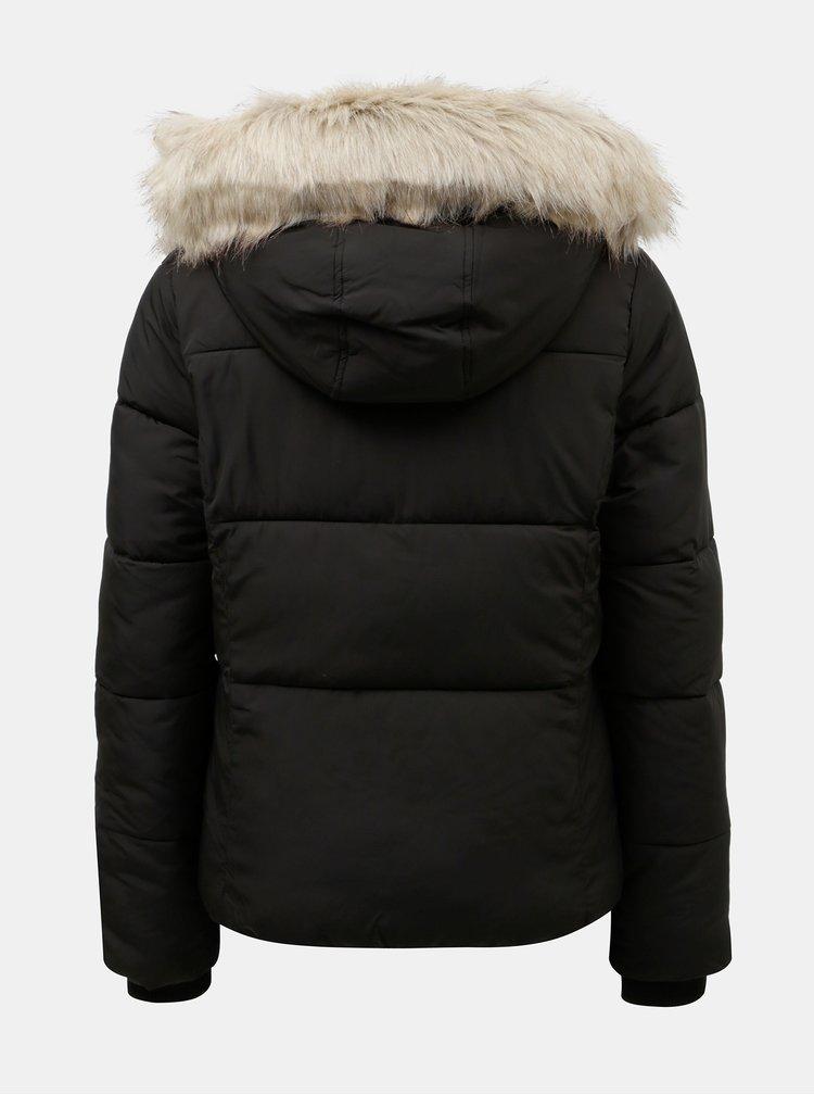 Černá prošívaná zimní bunda s odnímatelným umělým kožíškem na kapuci Miss Selfridge Puffer