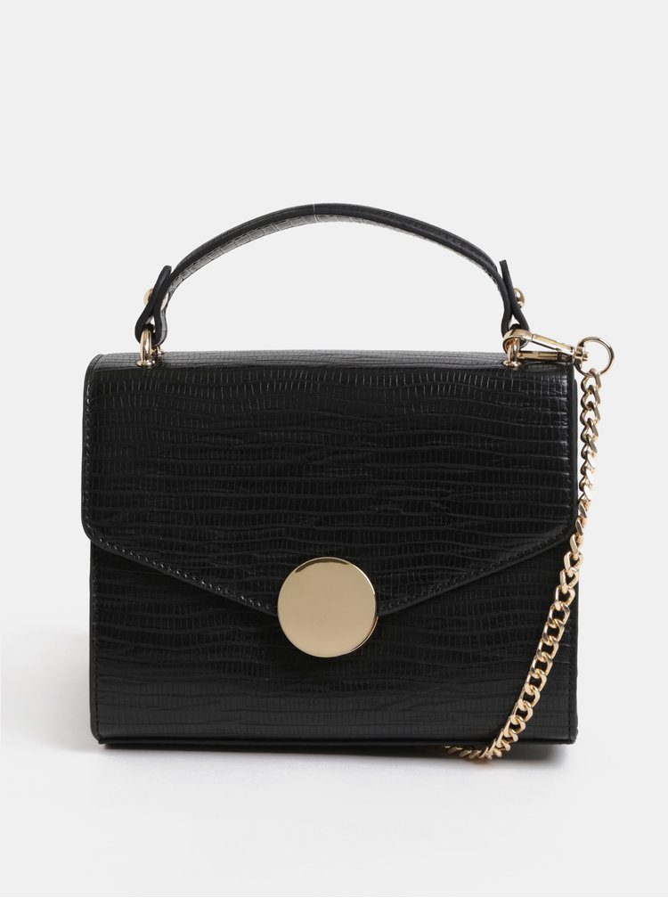Černá malá kabelka s detaily ve zlaté barvě Miss Selfridge