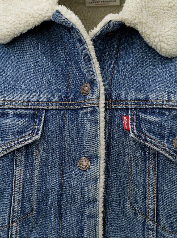 Modrá dámská džínová bunda s vnitřním umělým kožíškem Levi's® Trucker