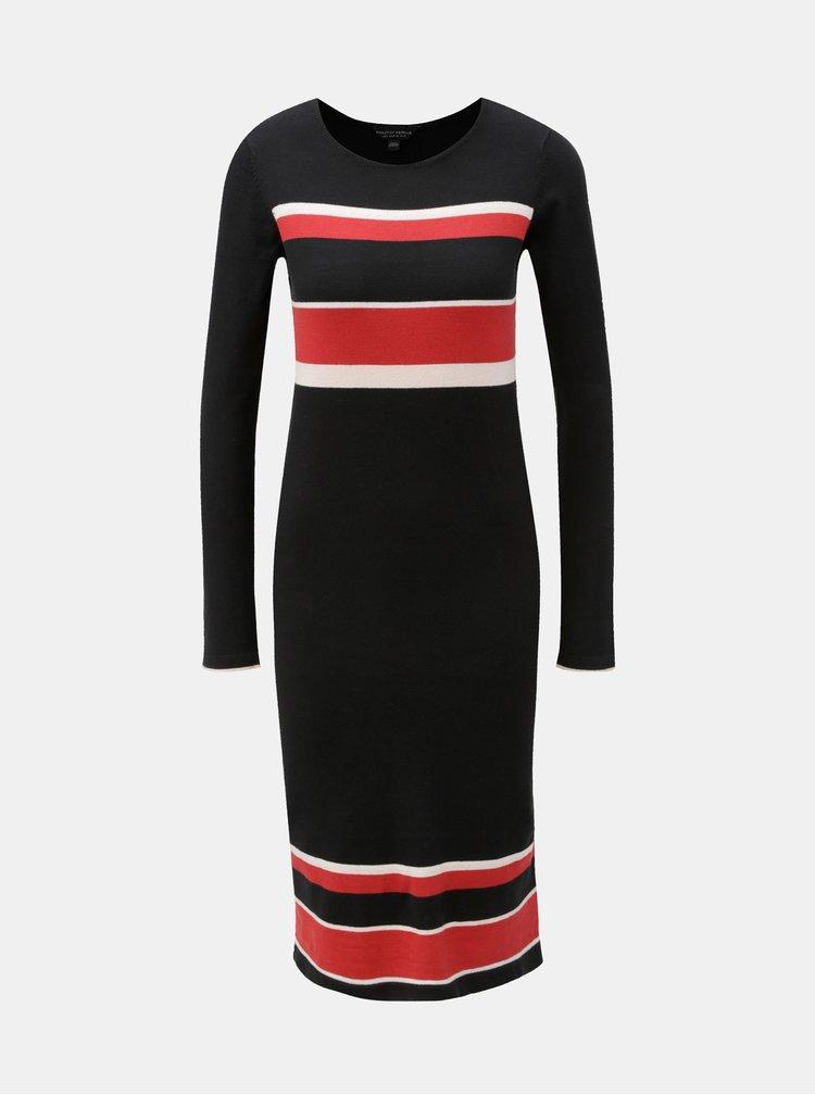 Červeno–čierne pruhované svetrové šaty Dorothy Perkins