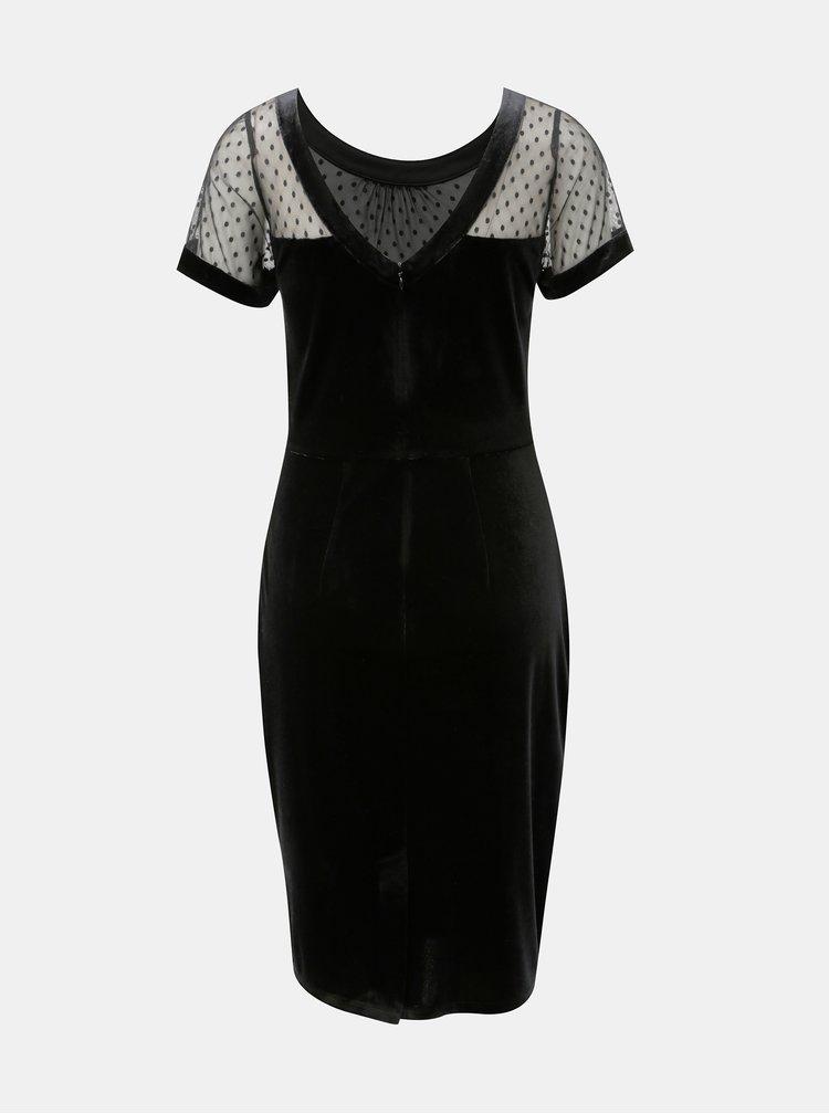 Černé sametové pouzdrové šaty s průsvitným sedlem M&Co Velvet