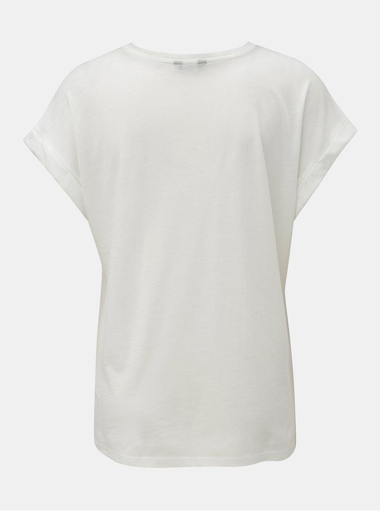 Biele tričko s flitrami a potlačou M&Co Aurevoir