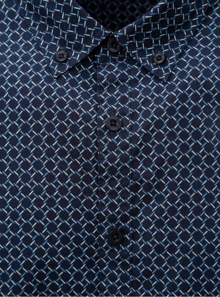 Tmavě modrá vzorovaná košile s dlouhým rukávem Merc