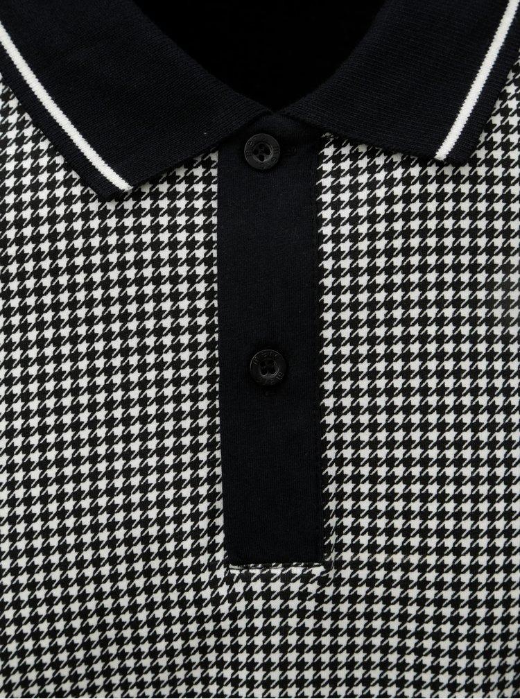 Čierno–sivá vzorovaná polokošeľa s krátkym rukávom Merc