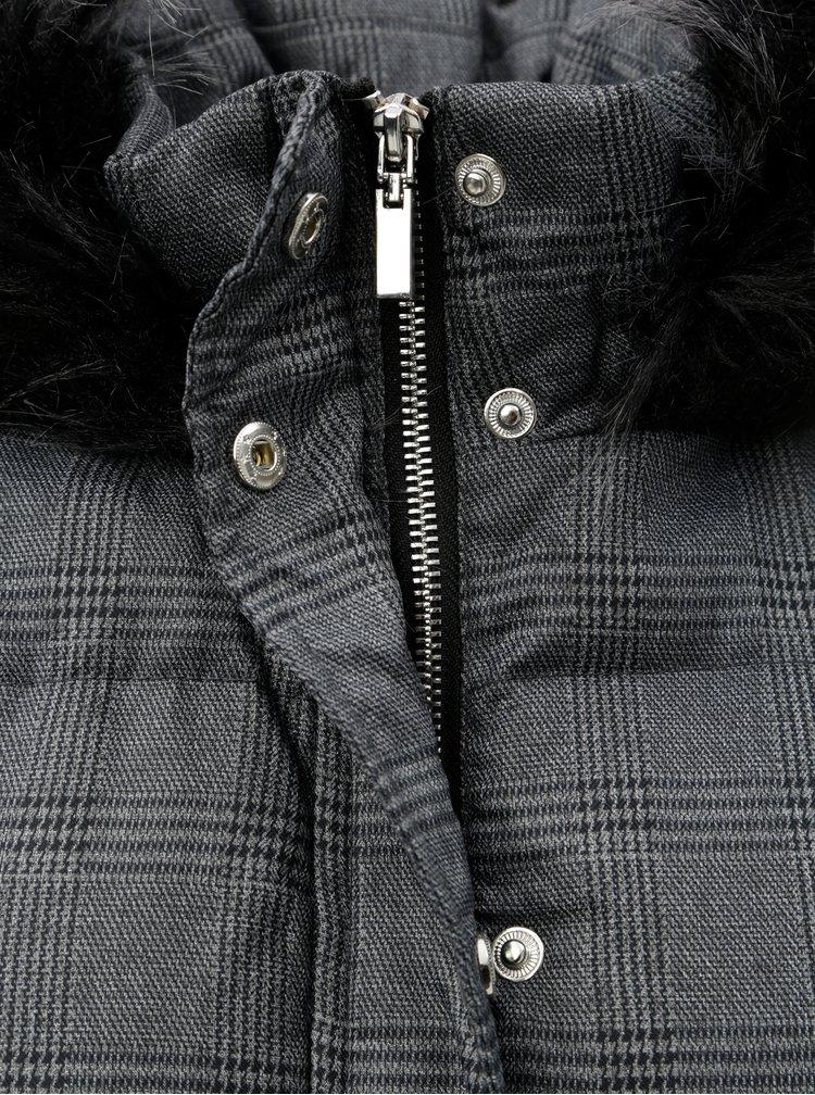 Sivý kockovaný zimný kabát s umelou kožušinkou na kapucni Dorothy Perkins