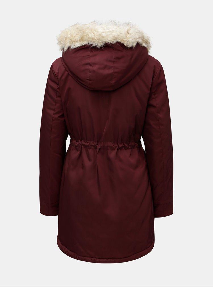 Vínová zimní parka s umělým kožíškem na kapuci Dorothy Perkins Petite