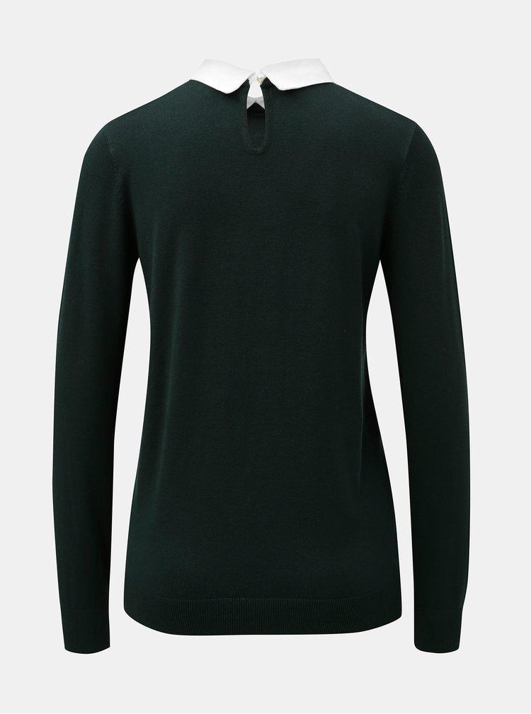 Tmavě zelený lehký svetr s ozdobným límečkem Dorothy Perkins