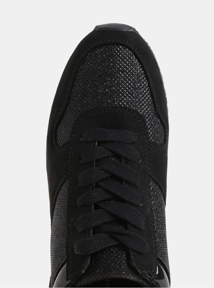 Pantofi sport negri cu efect stralucitor si detalii cu aspect de piele intoarsa Dorothy Perkins