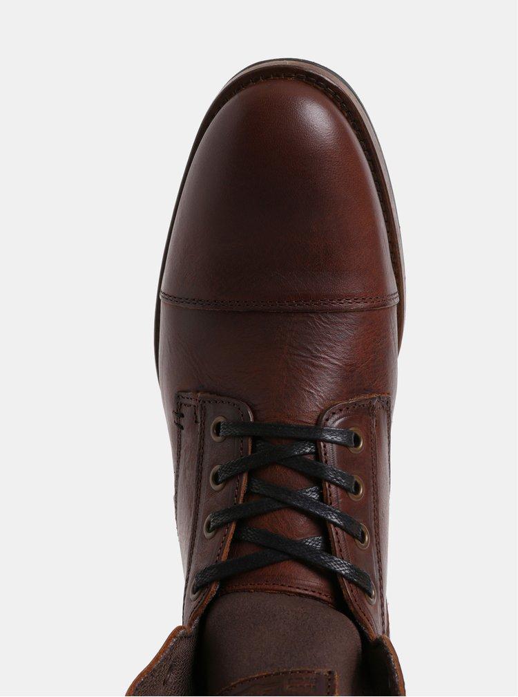 Hnedé pánske kožené členkové topánky Bullboxer