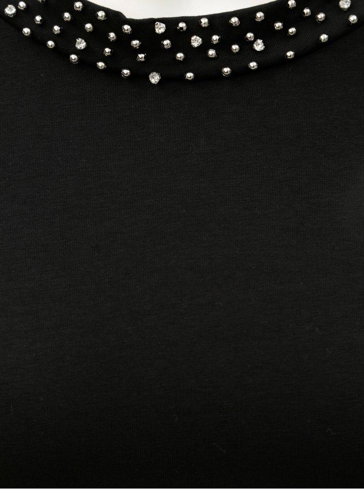 Černé šaty s korálky ve výstřihu a s 3/4 rukávem Dorothy Perkins Embellished