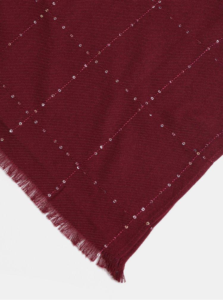 Vínový šátek s flitry Dorothy Perkins Grid