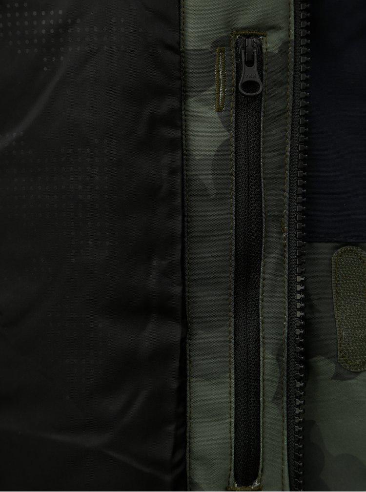 Modro-zelená pánská vzorovaná funkční zimní bunda s potiskem Horsefeathers Gannet