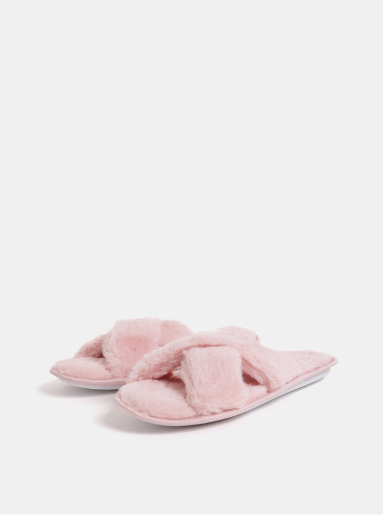 Růžové chlupaté pantofle Dorothy Perkins