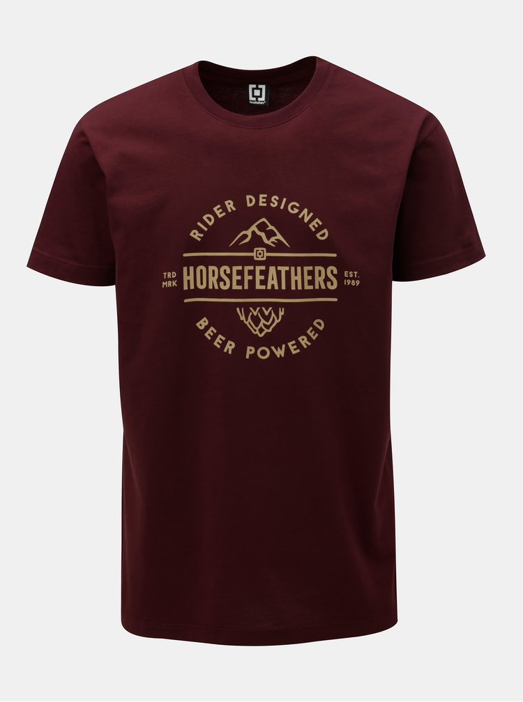 Tricou barbatesc bordo cu imprimeu si maneci scurte Horsefeathers Mt. Top