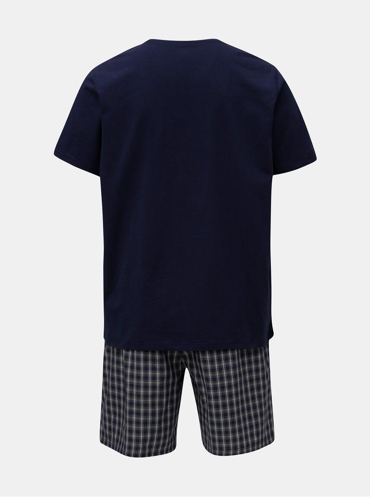 Tmavě modré dvoudílné pánské pyžamo Calvin Klein Underwear