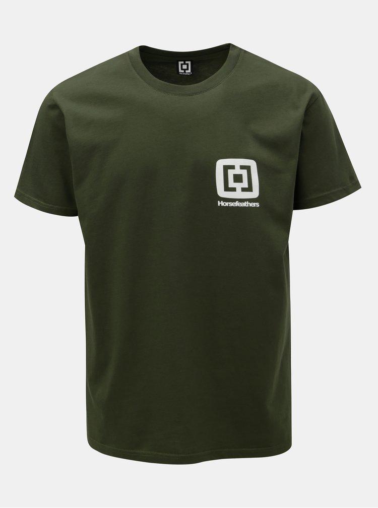 Tricou barbatesc verde inchis cu imprimeu si maneci scurte Horsefeathers Mini Logo