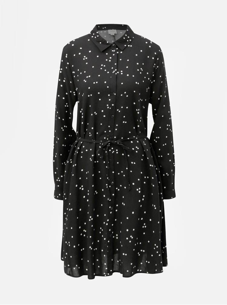 Čierne košeľové bodkované šaty Jacqueline de Yong Gitte