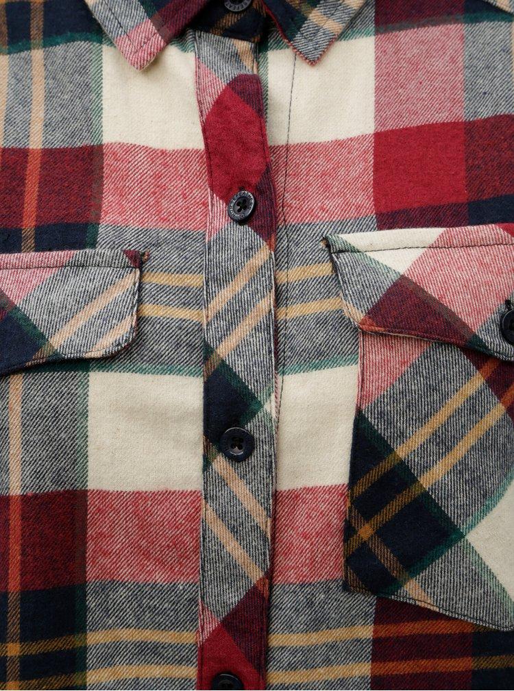 Béžovo-červená dámská kostkovaná flanelová košile s dlouhým rukávem Horsefeathers Maya