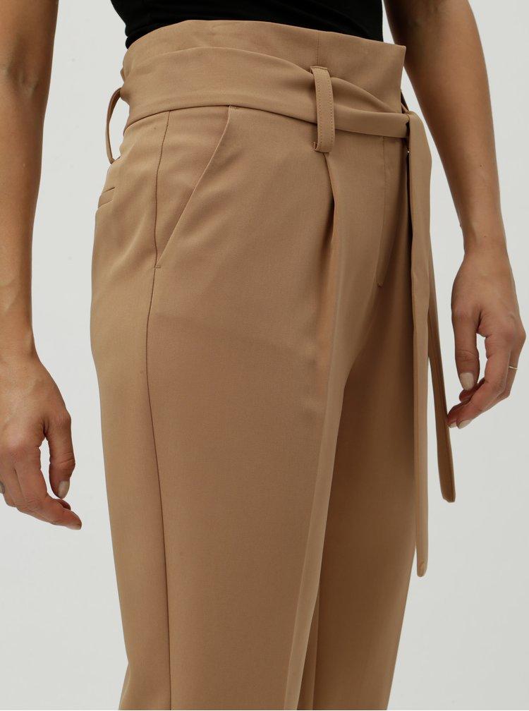 Hnedé skrátené nohavice s vysokým pásom Dorothy Perkins