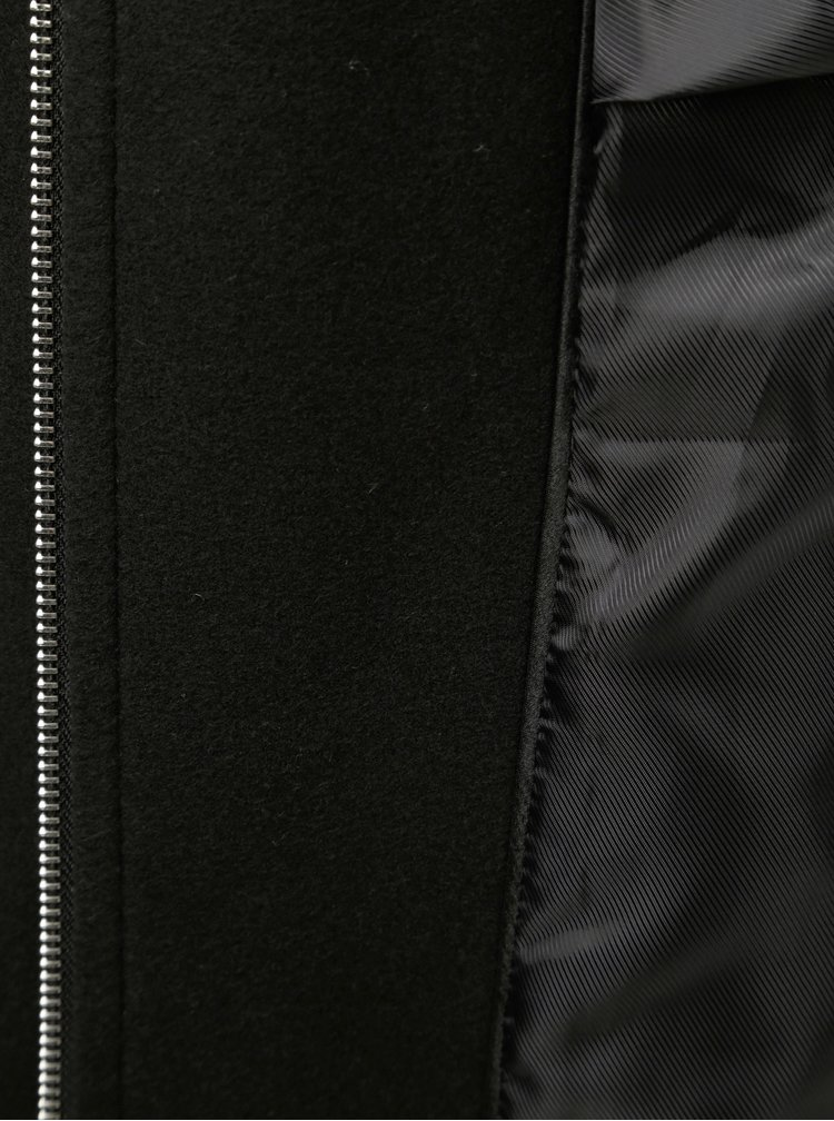 Pardesiu negru lejer cu gluga si blana artificiala Dorothy Perkins
