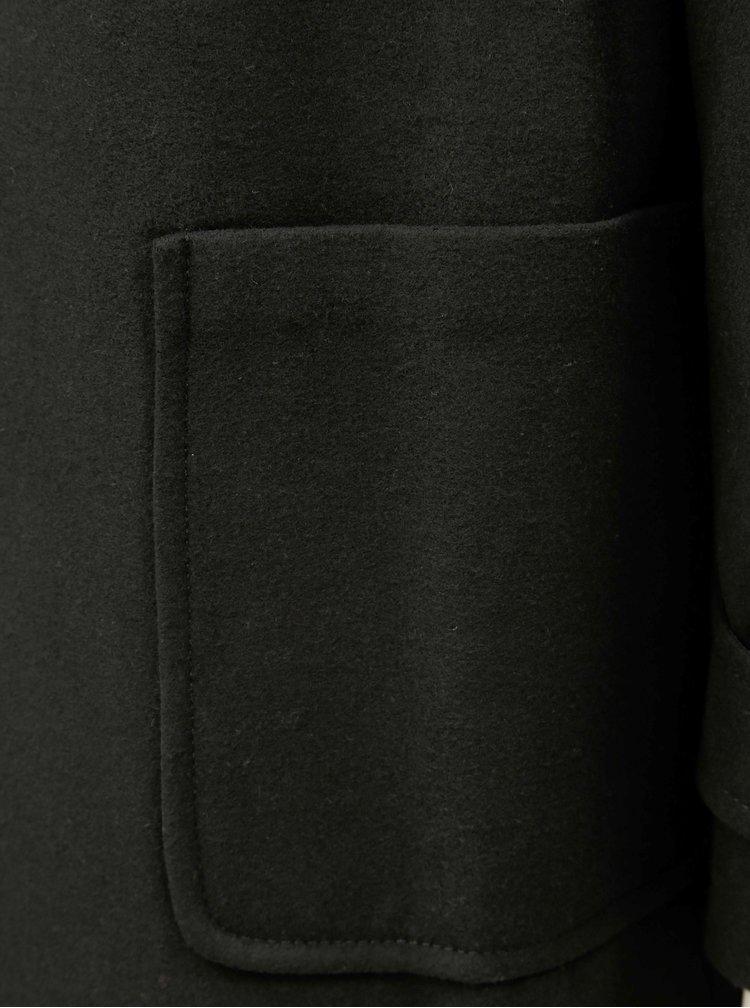 Černý kabát s kapucí a umělým kožíškem Dorothy Perkins