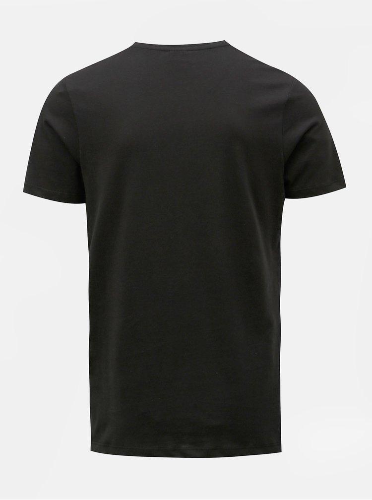 Černé tričko s krátkým rukávem Jack & Jones Omake
