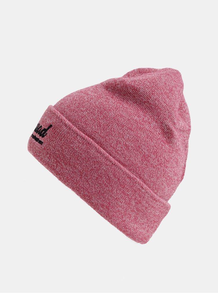 Růžová dámská žíhaná čepice s výšivkou Horsefeathers Tenia