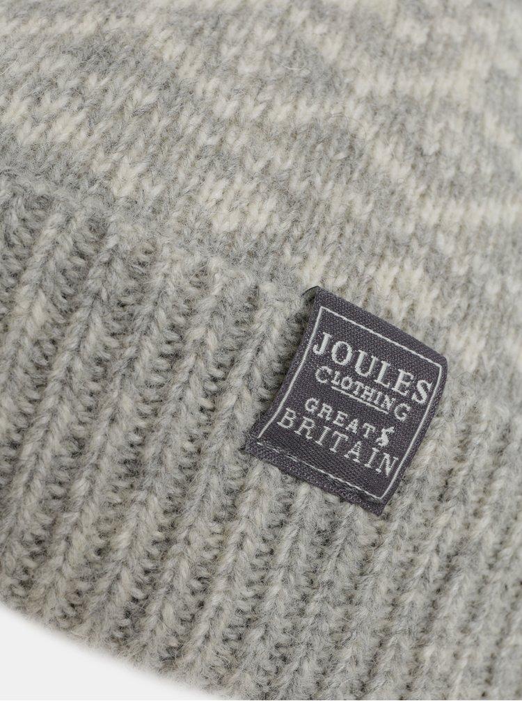 Světle šedá dámská vlněná vzorovaná čepice Tom Joule Fairisle
