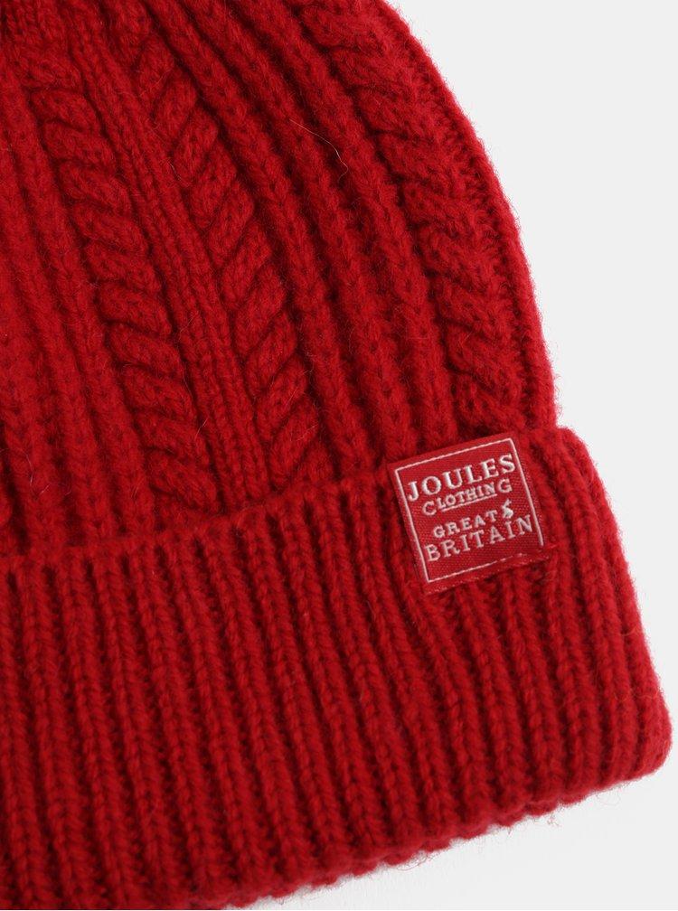 Červená dámská vlněná čepice s bambulí Tom Joule Cable