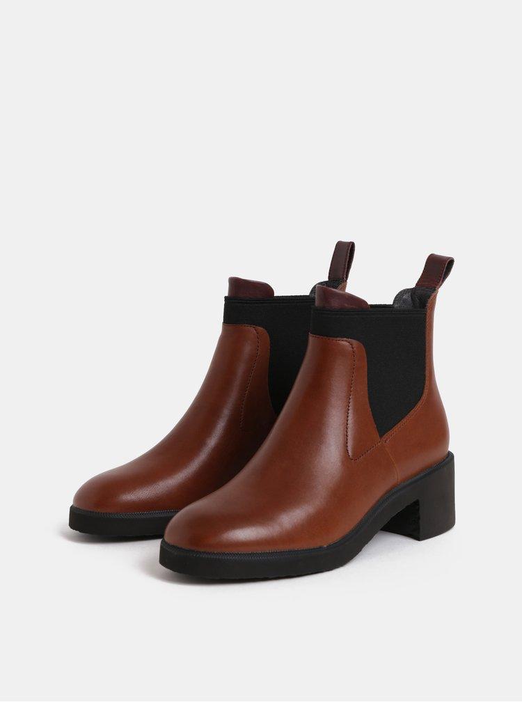 Hnědé dámské kožené chelsea boty na podpatku Camper Wonder