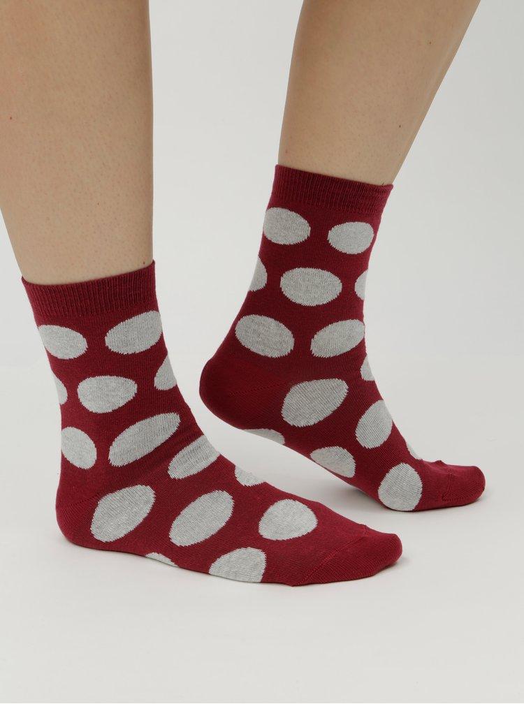 Vínové dámské puntíkované ponožky ZOOT