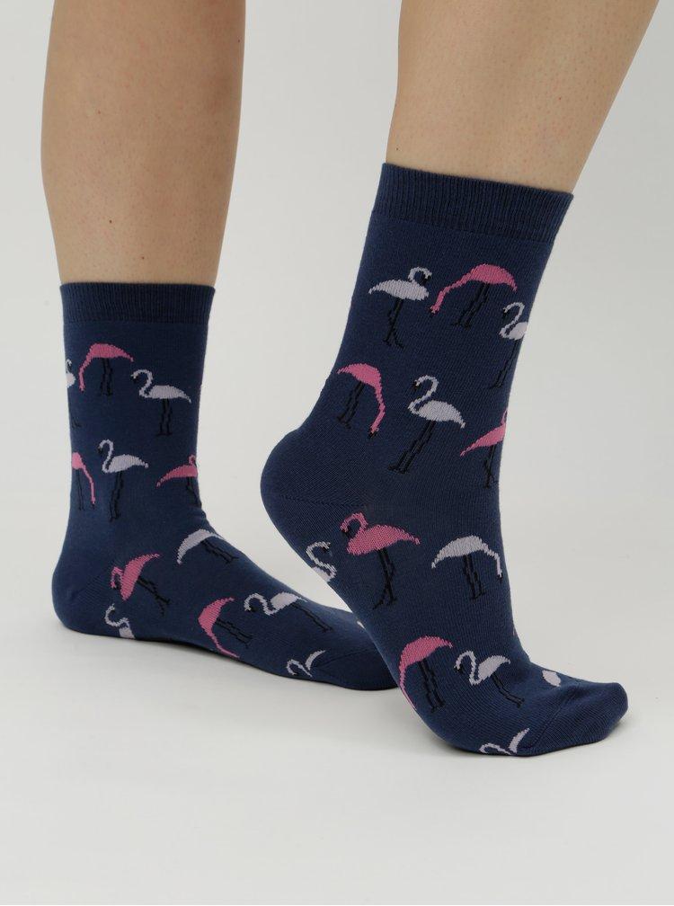 Modré dámské ponožky s motivem plameňáků ZOOT