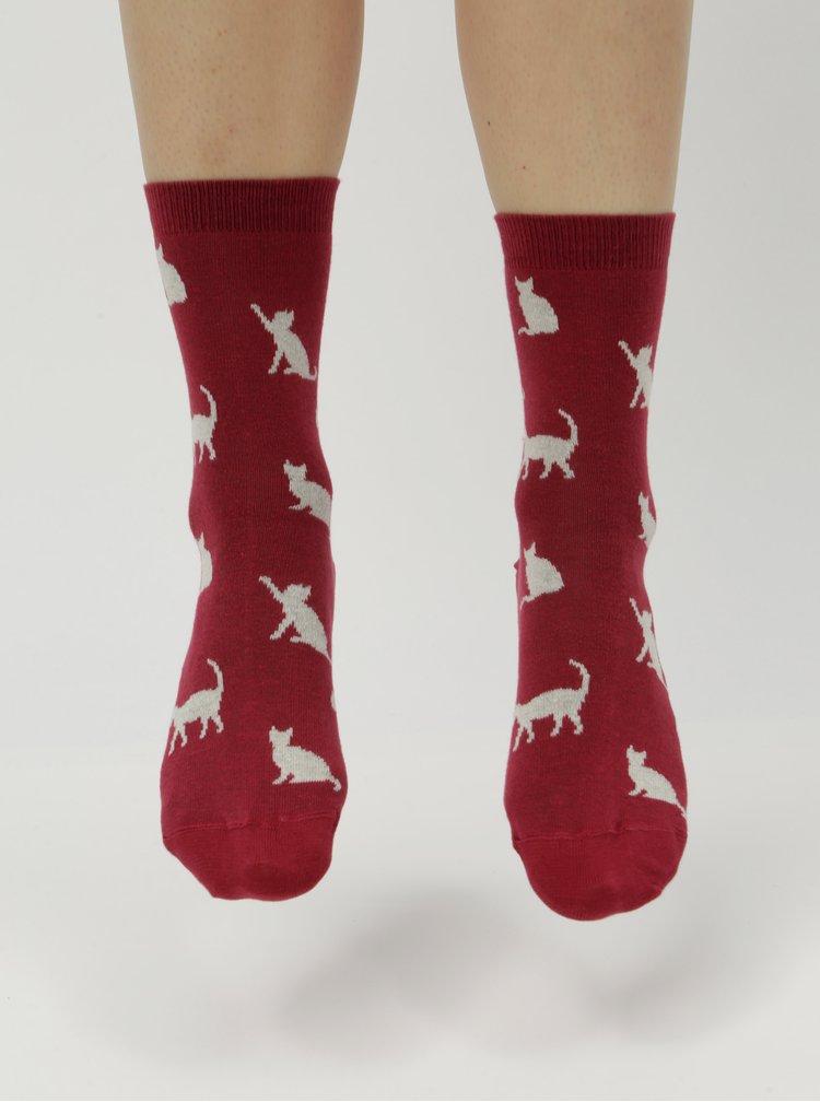Vínové dámské ponožky s motivem koček ZOOT