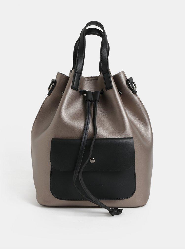 Rucsac/geanta bucket negru-bej cu irizatii metalice Claudia Canova Alessia
