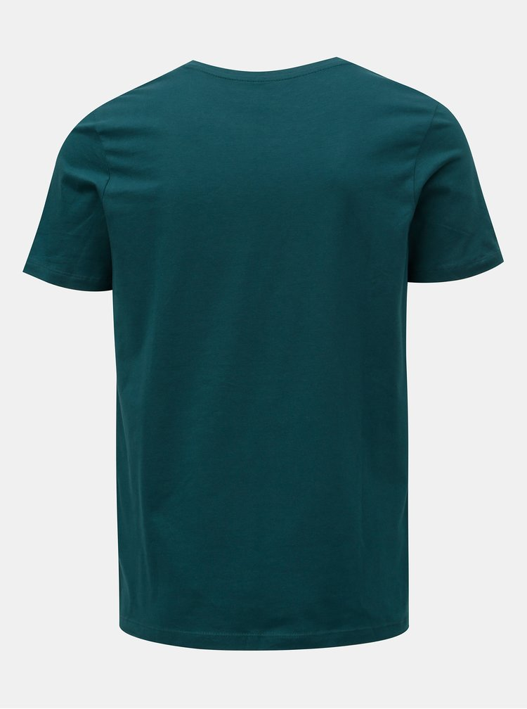 Tricou verde inchis cu imprimeu buldog de Craciun Jack & Jones Xmas