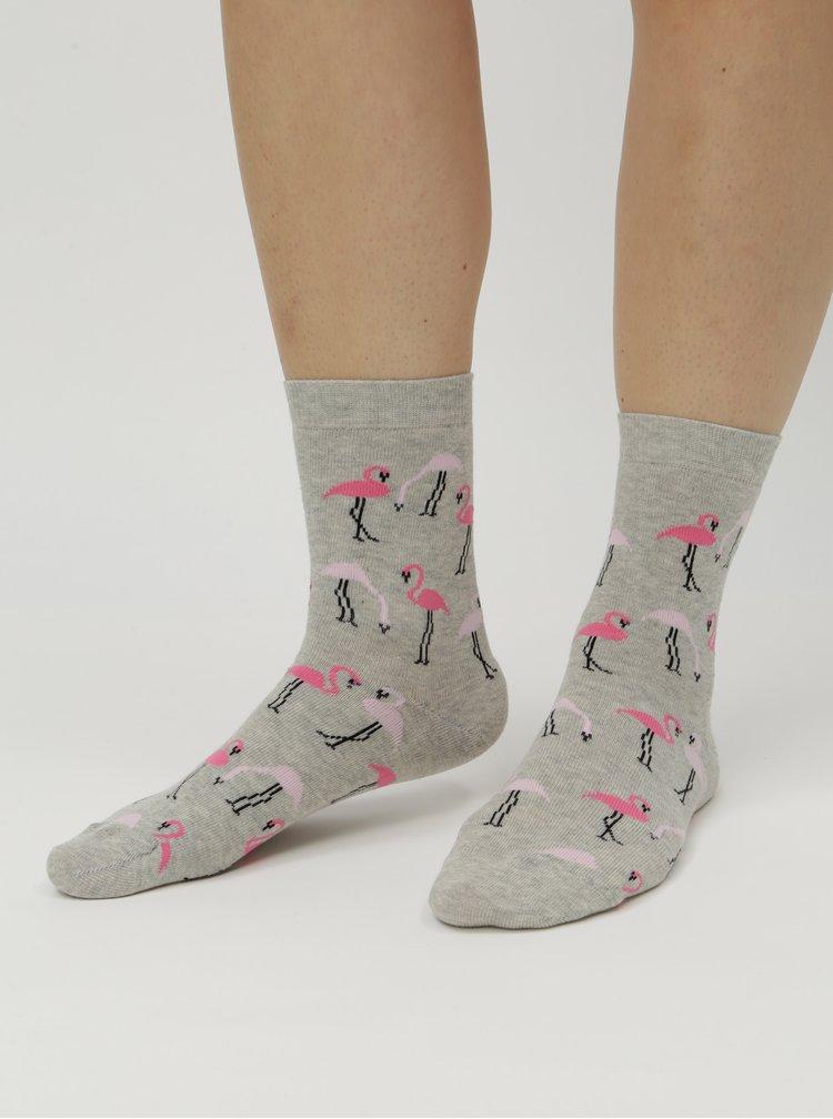 Šedé dámské ponožky s motivem plameňáků ZOOT