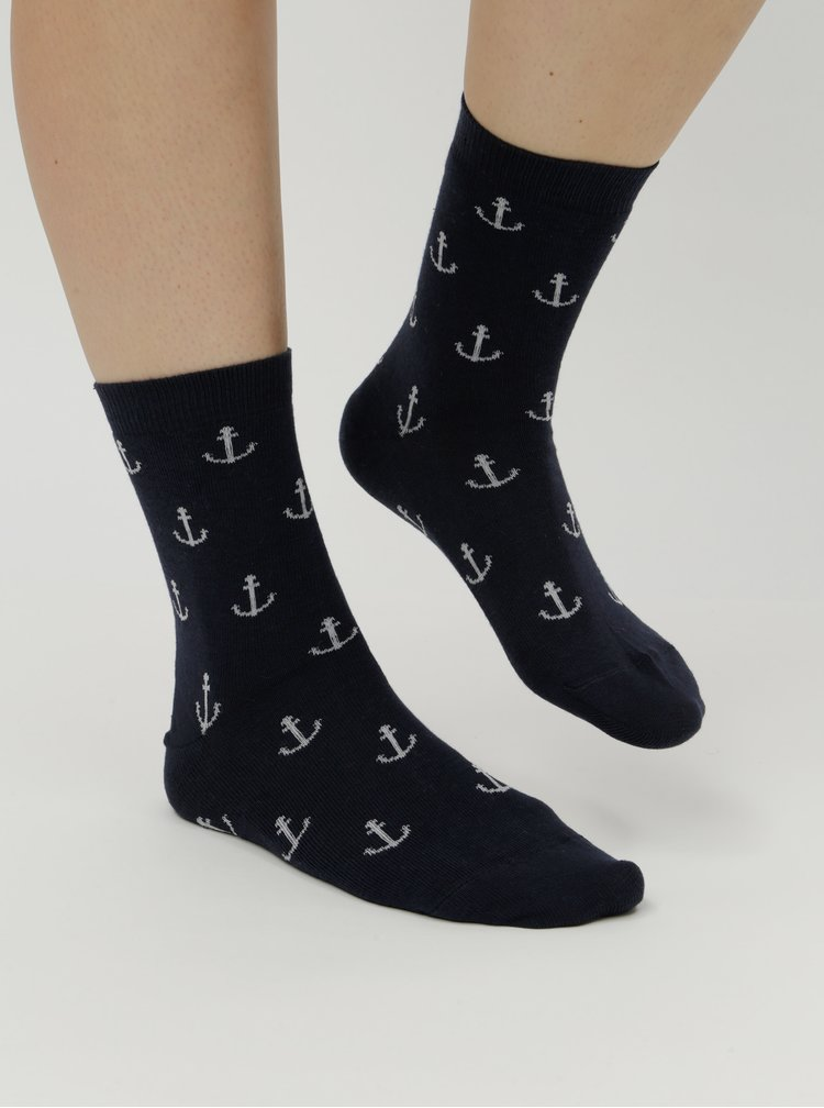 Tmavě modré dámské ponožky s motivem kotev ZOOT
