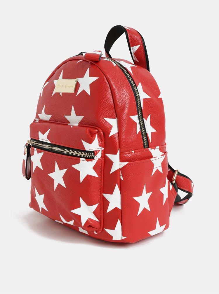 Rucsac alb-rosu cu motiv stele Claudia Canova Starlight