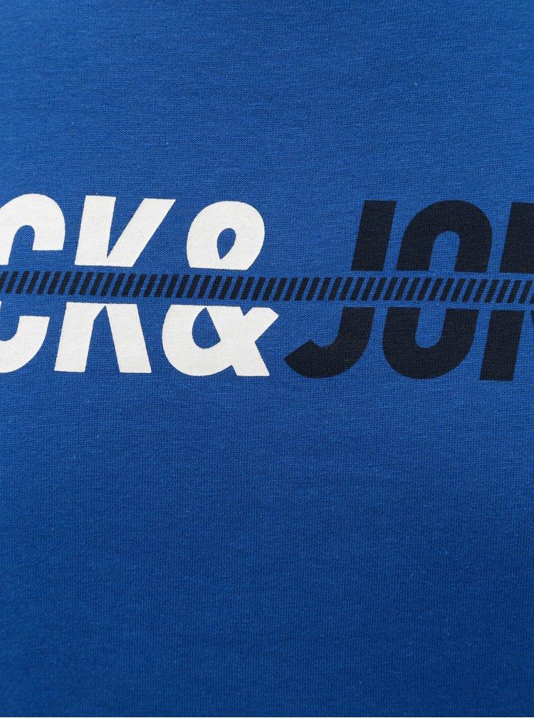 Modré tričko s nápisem Jack & Jones Linn