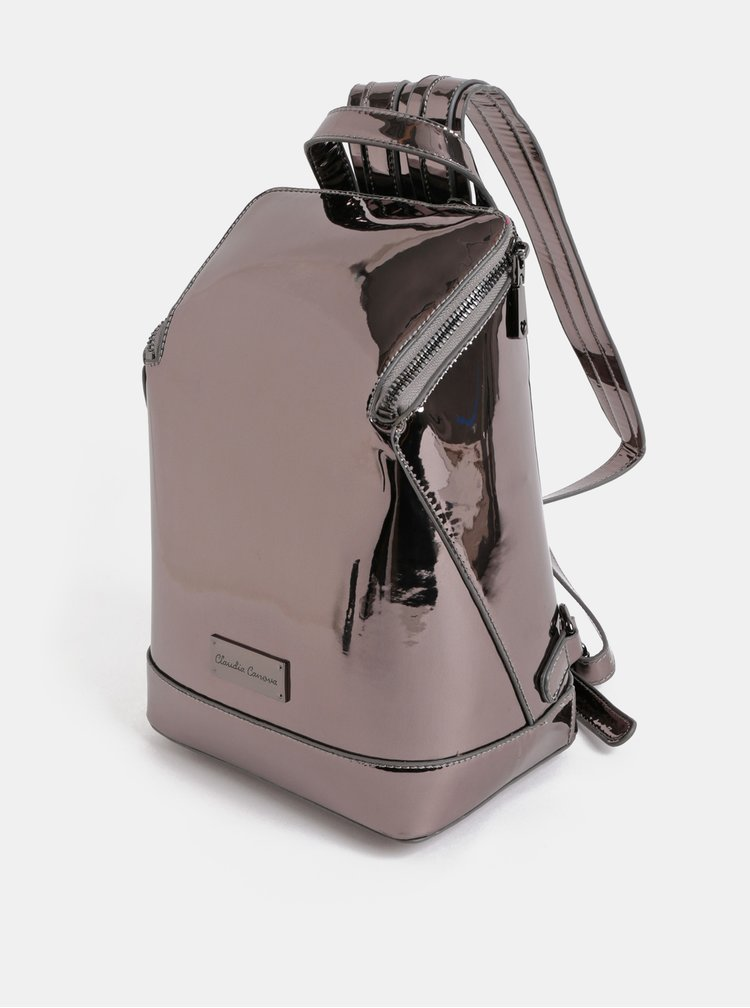 Tmavě šedý lesklý batoh s metalickými odlesky Claudia Canova Valentina