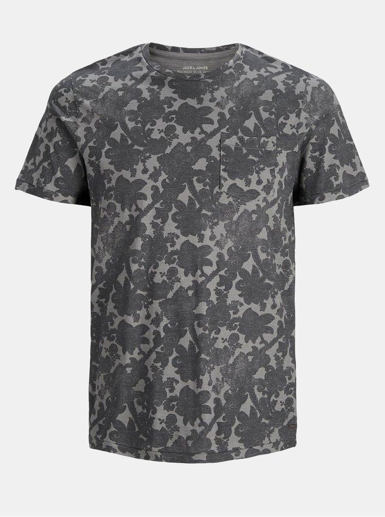 Šedé květované tričko s kapsou Jack & Jones Charlie