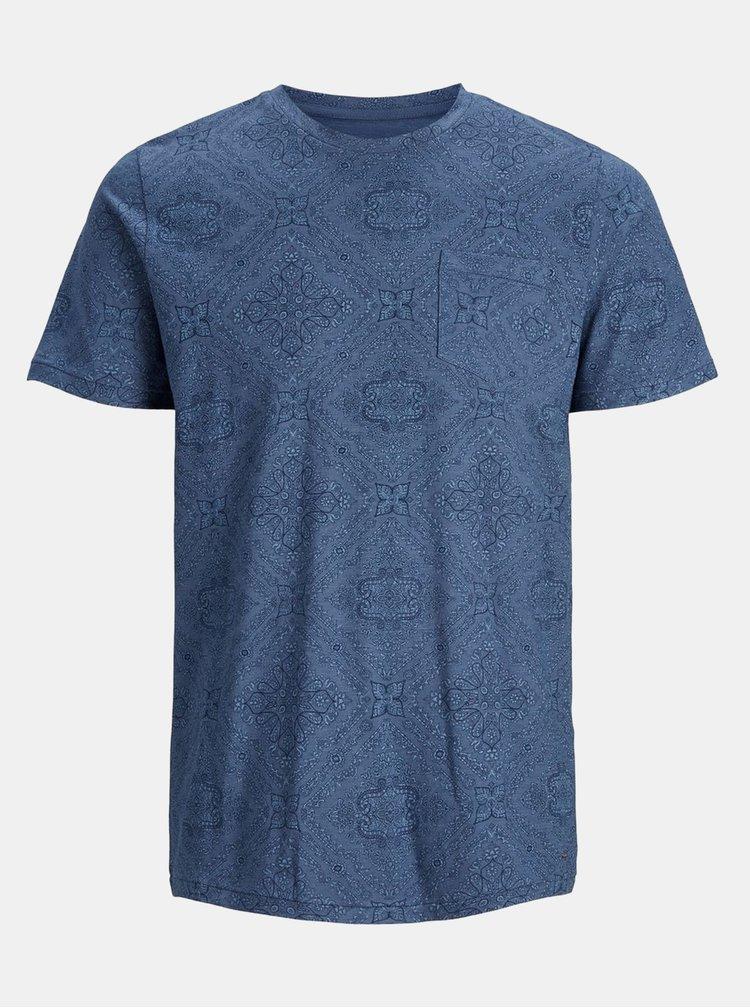 Tricou albastru floral cu buzunar Jack & Jones Charlie
