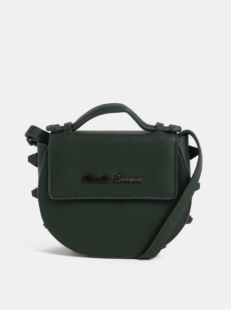 Tmavě zelená malá crossbody kabelka s ozdobnými detaily  Claudia Canova Regal