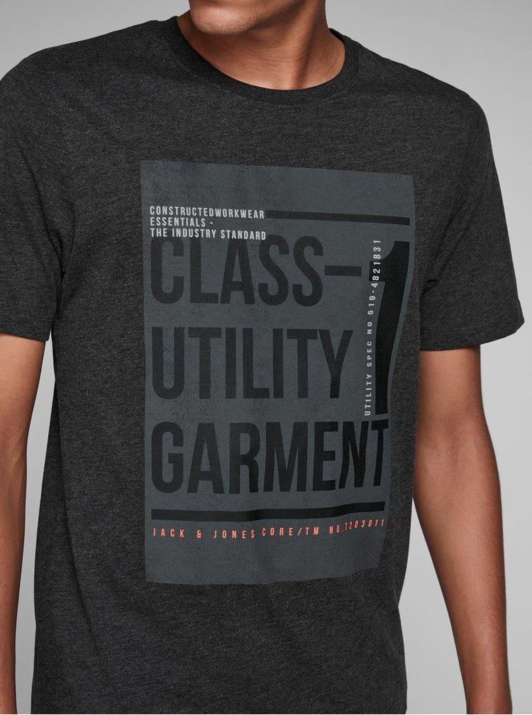 Tmavosivé melírované tričko s potlačou Jack & Jones Denim