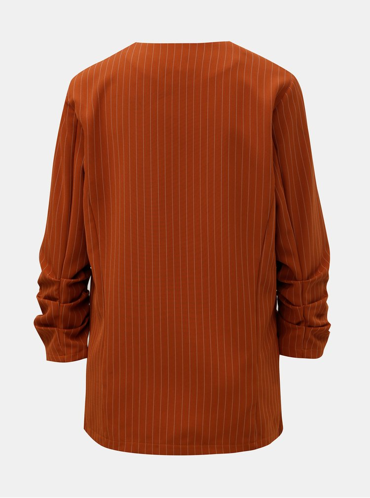 Oranžové pruhované sako s 3/4 rukávem VILA Vielania