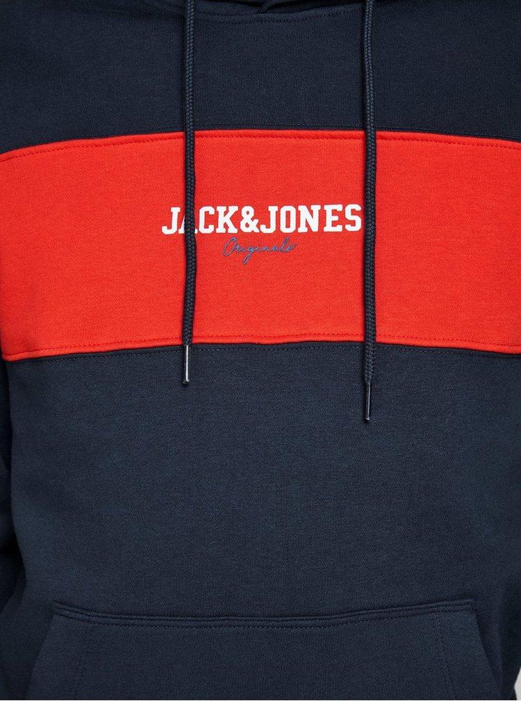 Červeno-modrá mikina s nápisem Jack & Jones Josh